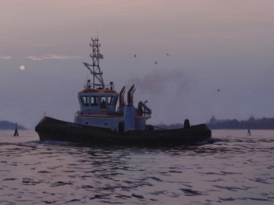 Tugboat at dusk