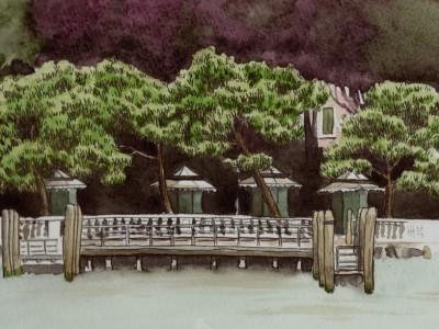 Devant les Giardini Reali au petit matin